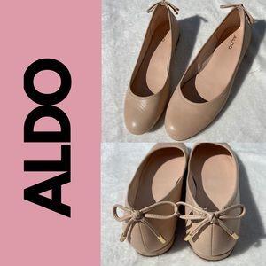Aldo Blush Pink Leather Ballet Flats Bow Size 8.5
